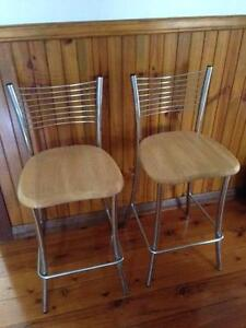 Chrome and pine bar stools (2) Bulli Wollongong Area Preview