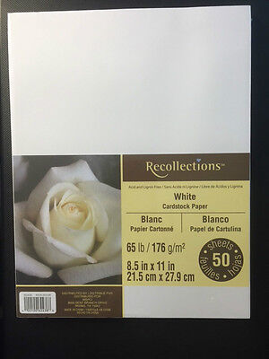 "Recollections ""WHITE"" Cardstock Paper 8.5"" x 11""  50 sheets"