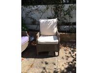 Outdoor Reclining Chair with Cushions Cushion Recline White Grey Gray
