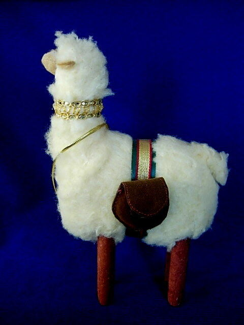 Collectible Hand Made Wooly Alpaca / Llama Figurine - Made in Peru