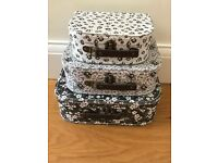 Shabby chic decorative suitcases.