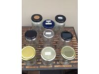 9 large jars and lids - various shapes perfect for homemade sauerkraut, pickles, chutneys or crafts.