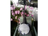 Martinez five string Banjo and case as new