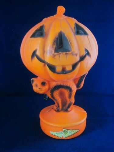 "Vintage Halloween Plastic Blow Mold Jack-o-Lantern Light- Black Cat- 14"" Tall"