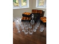 BOHEMIA FINE CUT LEAD CRYSTAL (24% Pb0) GLASS SET, WITH DECANTER AND BOWL, 26 PIECE