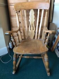 Vintage Antique Pine Rocking Chair