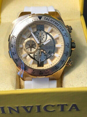 Invicta Watch 24578 Aviator 49mm White Sili Strap Quartz Chrono Gold Bezel NEW