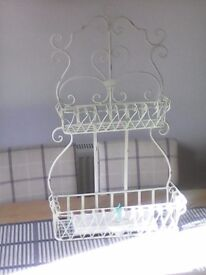 Wrought iron vintage style shabby chic shelf unit canbe wall hanging or free standing