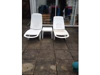 White Cormoran ( made in France ) sun lounger with matching wine / beer cooler side table