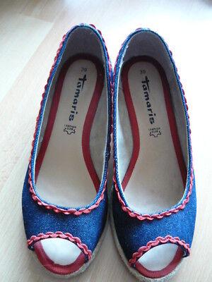 Jeans Pumps Schuhe Blau Rot 39 Tamaris