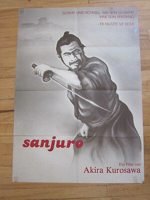 SANJURO Unprecedented 1962 German movie poster Akira Kurosawa Toshiro Mifune Samurai