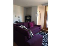Purple Fabric Corner Sofa - good condition