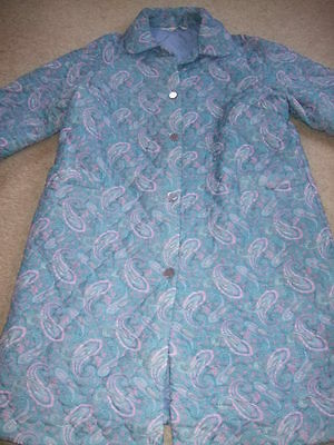 vintage 60s St Michaels housecoat quilted dress gown L 14 16 blue pink paisley