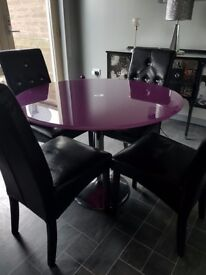 Stunning purple dining table & chairs