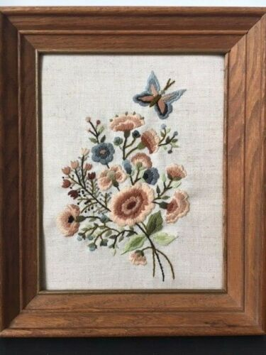 VINTAGE WOODEN FRAMED CREWEL FLORAL WORK W/BUTTERFLY~shades of blue brown green