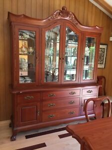 Solid cherry buffet and hutch
