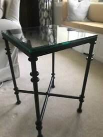 2 x Oka Pompidou Glass & Metal Side Tables