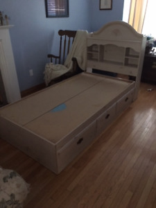Twin Sized Captains Bed and Headboard in Maple Finish
