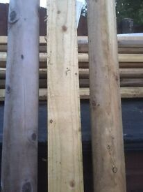 26 x Half round rails 100mm x 1.8m long solid timber lenghts ideal for garden fence unused