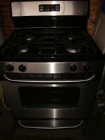GE stainless Steel gas stove with self clean oven