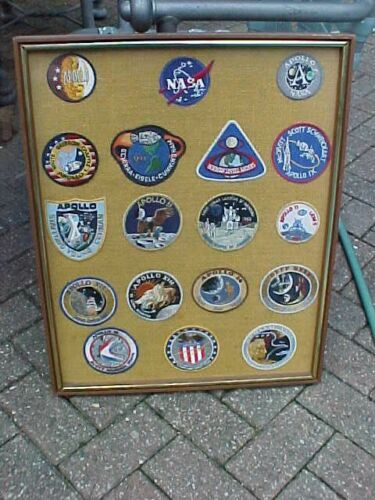 ORIGINAL VINTAGE NASA APOLLO LEM MOON PATCH COLLECTION FRAMED IN 1973
