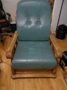 Green Leather Chair With Solid Wood Frame