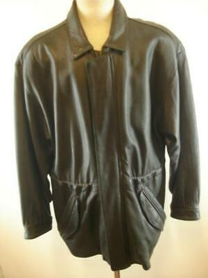 Mens M L 40 Robert Comstock Endurance Black Leather Jacket Coat Drawstring Waist Mens Endurance Leather