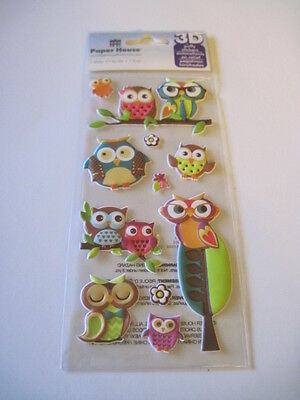 Scrapbooking Crafts Stickers Paper House Puffy Cute Colorful Owls Branches - Owl Scrapbook Paper