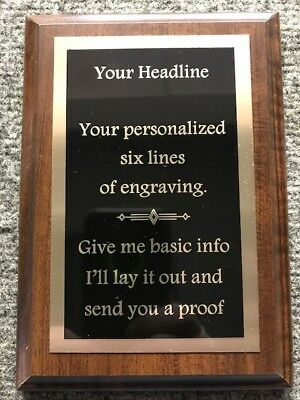 """6""""X 8"""" Employee of the Month/Safety/Sports or Custom Plaque Award-FREE Engraving"""