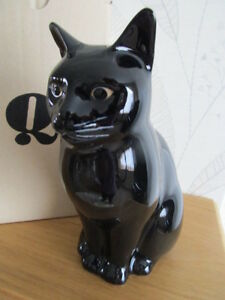 BEAUTIFUL QUAIL POTTERY CERAMIC BLACK CAT FLOWER VASE  BOXED IDEAL GIFT
