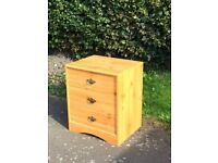 Pine effect bedside table / chest of drawers