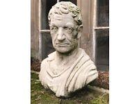 Impressive Old 20th Century Stone Marcus Cicero Garden Statue Bust