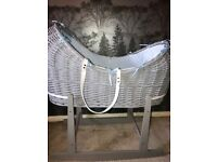 Baby boys Moses basket and rocking stand