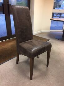 NEW! Brushed Leather DINING CHAIRS, antique look, Dark hardwood legs