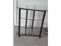 Glass 4 tier shelving unit/console/tv unit