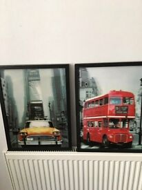 3d style pictures - red bus yellow taxi