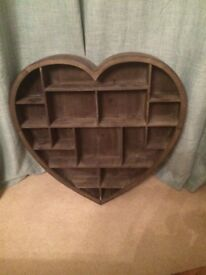 """""""Heart"""" Shaped Wooden Shelving / Display Unit"""