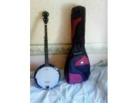 5 string banjo and case