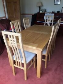 Solid Beech Dining Table and 6 chairs - Extendable