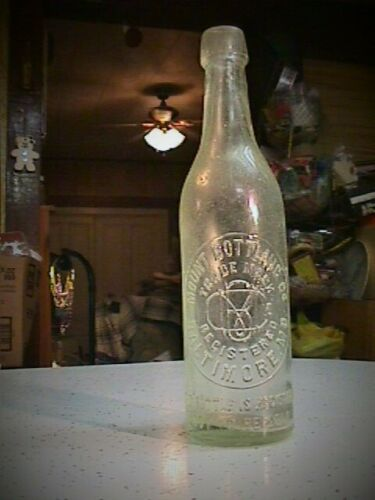 1890s MOUNT BOTTLING CO. BALTIMORE MD MARYLAND BLOB TOP BEER BOTTLE
