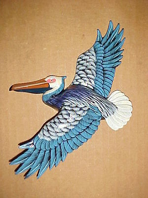 "9"" Flying PELICAN Wall Hanging Decor Bath Beach Tropical Ocean Nautical Birds"
