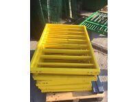 11 no 900 x 700 x 50mm powder coated yellow metal railings