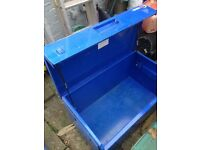 Trade safe Steel Tool Locker - hydraulic lid, lockable. 4'x2'x2'
