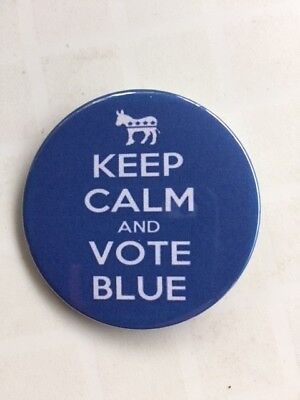 "VOTE BLUE 1 1/2 inch Pinback Button ""KEEP CALM and VOTE BLUE"" SHIPS FREE"