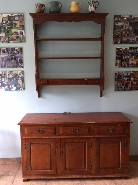 Wooden Oak Dresser With Cupboard And Display Unit For Kitchen Or Dining Room