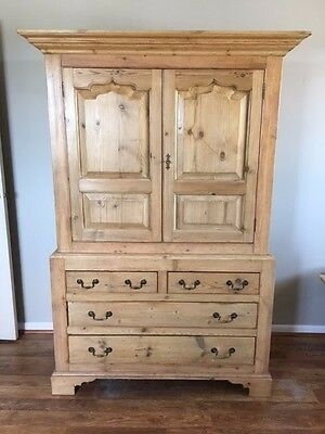 Antique Pine Wardrobe Armoire