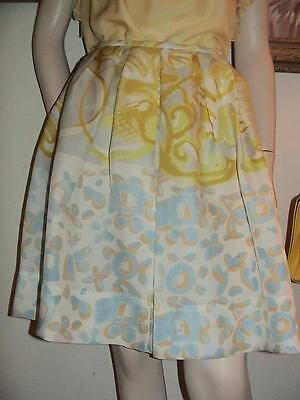 Emilio Pucci silk twill full pleated abstract yellow print skirt 42 8 NWT $1069