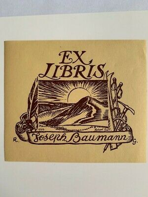 Ex-libris Alsace Robert GALL pour Joseph BAUMANN, 75 x 93 mm GM