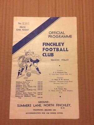 Finchley V Grays Athletic London League 1936-1937
