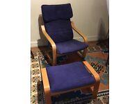 IKEA Poang Chair & Foot Stool, Birch Veneer, Blue Fabric Cover. £20.